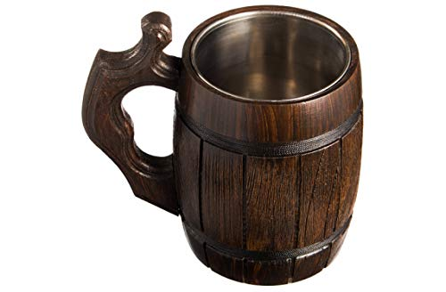 Handmade Beer Mug Oak Wood Stainless Steel Cup Natural Eco-Friendly 0.6 liters 20 ounces Barrel Brown by MyFancyCraft