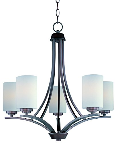 - Maxim 20035SWOI Deven 5-Light Chandelier, Oil Rubbed Bronze Finish, Satin White Glass, MB Incandescent Incandescent Bulb , 8W Max., Dry Safety Rating, 2700/3200K Color Temp, ELV Dimmable, Shade Material, 560 Rated Lumens