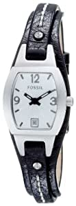 Fossil Women's JR9759 Skinny Black Leather Strap White Analog Dial Watch