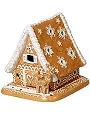 Villeroy & Boch Vinterbageri dekoration pepparkakshus, dekorativ te-ljushållare tillverkad av hårt klistrat porslin, brun/vit 15 x 13 x 14 cm