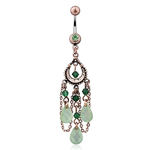 Jade Green Vintage (Covet Jewelry Vintage Navel Ring with Peridot, Beads and 3-Pear Shaped Jade color Light green Adventurine Dangles)