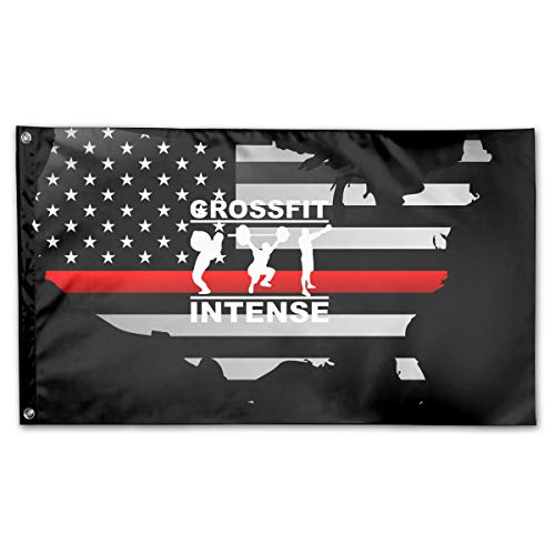 Cool Crossfit Intense Thin Red Line Flag 100% Polyester House Flag Decorative Garden Flag Yard Banner Garden Flags 3x5]()
