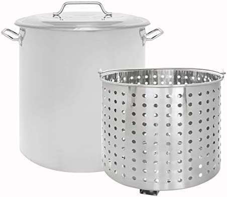 CONCORD Stainless Steel Stock Pot w Steamer Basket. Cookware great for boiling and steaming 160 Quart