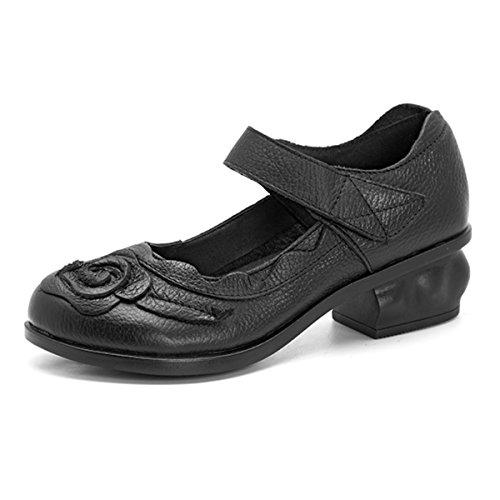Negro Verano De Vintage Puntera Socofy Zapatos Baño Casuales Primavera Mujer Rojos Cuero Mocasines Velcro Redonda Cómodos Flores Con Ballet BUwqxnw7fg