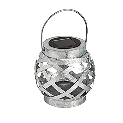 Evergreen Garden Galvanized Metal Solar Outdoor Lantern