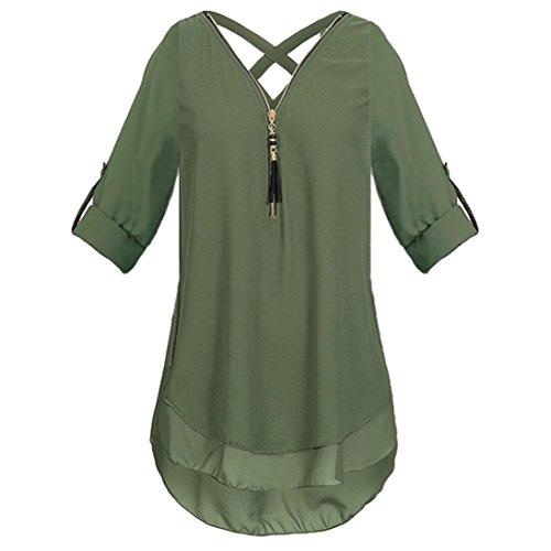12 DOLDOA Reißverschluss Oberteile Tops Sommer T Damen Armeegrün Frauen Shirt Tank vTqRKF