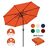 JEAREY 9' Patio Umbrella Outdoor Table Umbrella with 8 Sturdy Ribs (Orange)