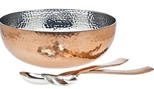 The Platinum Chef Salad Set Copper Plated Hammered Exterior Stainless Steel Interior with 2 Salad Servers