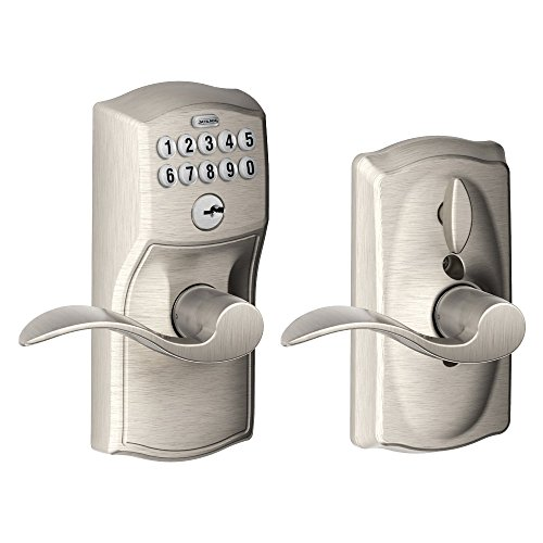 Schlage FE595VCAM619ACC Camelot Keypad Entry with Flex-Lock and Accent Levers, Satin - Locks Keyless Door