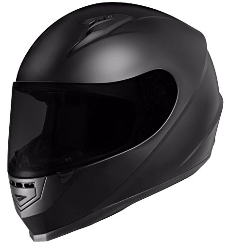 GLX Full Face Motorcycle Helmet Street Sport Bike DOT Approved + 2 Visors (L, Matte Black) by GLX