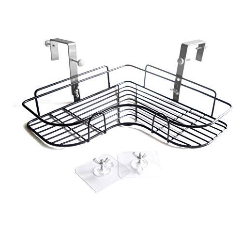 Drill-Free Dual Use Adhesive Or Screw Hook Metal Iron Wire Corner Shelf Storage Hanging Rack,Office Partition Corner Shelf,Bathroom Kitchen Corner Triangular Basket (L-All)