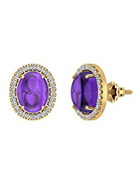 Amethyst & Diamond Earrings 14K Gold Cabochon Oval Gemstone February Birthstone