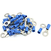 30Pcs PVC Insulated Ring Terminal Cable Lugs Blue RV2-6 AWG 16-14