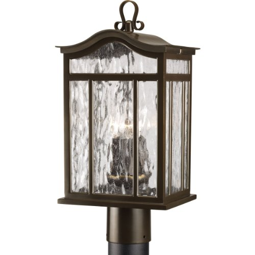 Progress Lighting P5468-108 3-Light Post Lantern with Unique Arched Roof and Top Ribbon Scrolled Loops with Arching Arms, Oil Rubbed Bronze - Meadowlark Three Light