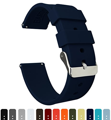 BARTON Silicone Quick Release - 24mm Width - Choice of Color - Navy Blue 24mm Watch Band Strap