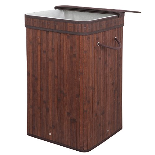 F2C Folding Easily Transport Rectangular Bamboo Laundry Hamper Basket Storage Basket with Lid Handles, Removable Liners Dirty Clothes Storage Laundry, Dark Brown
