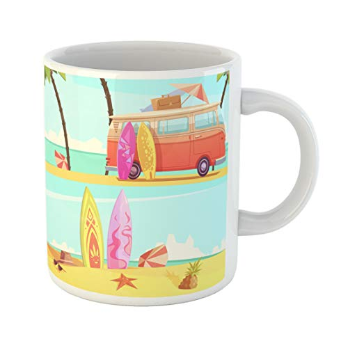 Semtomn Funny Coffee Mug Horizontal Surfing Banners with Bus Ready for Trip and Surfboards 11 Oz Ceramic Coffee Mugs Tea Cup Best Gift Or Souvenir