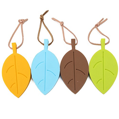 Style Decorative Lanyard - Cideros 4Pcs Silicone Door Stop Door Stopper Easily Wedges Door/Window Colorful Leaf Style Flexible Decorative Door Stops with Lanyard for Home School Office, Colorful