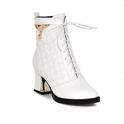Ciondoli Moda Donna Carolbar Stringate Simpatici Stivali Eleganti Tacco Alto A Tacco Alto Bianchi