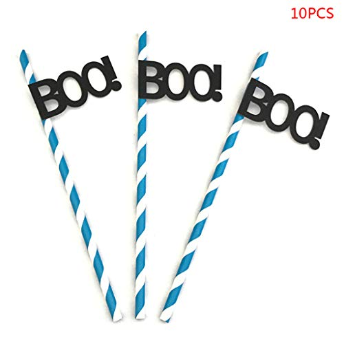 Keaiduoa 10pcs Halloween Drinking Paper Straws Kids Party Supplies DIY Baby Shower Decor (04#) -