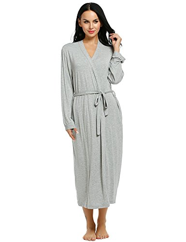 Adidome Womens Cotton Sleepwear Solid Split Long Sleeve Belted Long Nightgown Bathrobe (Split Bath)