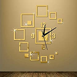 zhENfu Acrylic 3D DIY Mirror Sticker Wall Clocks Novelty Home DecorVintage Watch Wall For Living Room,Gold Wall Clock