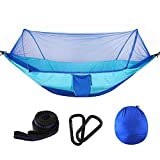 DLMZY 250 x 120CM Automatic Quick Opening with Mosquito net Hammock Outdoor Single Double Nylon Parachute Cloth Camping Portable Tent with Insect net with Strap Carabiner