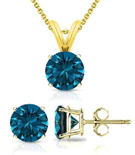 ue Diamond Solitaire Pendant & Diamond Stud Set AAA Quality in Yellow Gold (0.07 ctw) ()