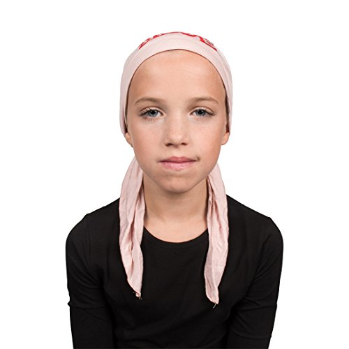 Sequin Love Applique on Child's Pretied Head Scarf Cancer Cap Light Pink by Landana Headscarves (Image #2)