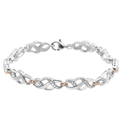 JewelExclusive Sterling Silver .25 CTTW diamond 7.5in two-tone infinity link bracelet