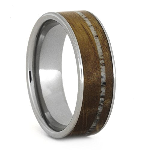 Whiskey Barrel Oak Wood, Deer Antler 7mm Comfort-Fit Titanium Band, Size 10.5 by The Men's Jewelry Store (Unisex Jewelry)