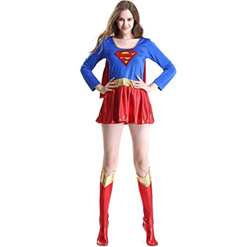 CQY Supergirl Costume for Girls Women's Cosplay Party Costume Superman Bodysuit and Skirt Costume Set Superwoman Adult,XL