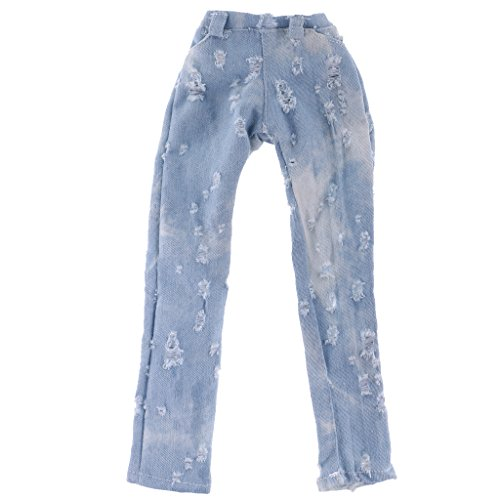 Jili Online Fashion Light Blue Casual Ripped Jeans Trouser Fit for 1/3 BJD SD Doll Clothes ACCS (Bjd Doll Clothes)