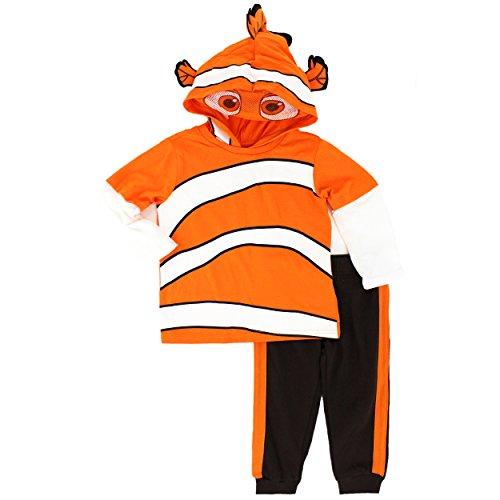 Disney Little Boys' Toddler Nemo 2-Piece Costume Hoodie and Pant Set, Orange, 2T