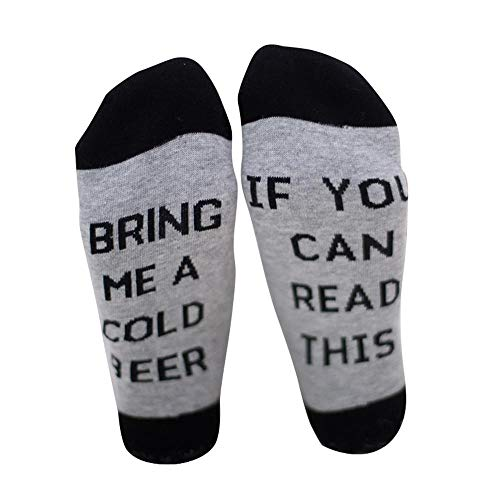 Aolvo Funny Wine Socks If You Can Read This Bring Me A Cold Beer Cotton Socks, Best Gift for Birthday, Party, Halloween, Christmas (One Pair/20x15cm)