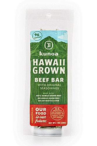Hawaii Grown Beef Bar, Grass Fed, All Natural, Pasture Raised, Antibiotic Free, Hormone Free, Original Seasonings, 1 Ounce Bars, 12 Count Boxes