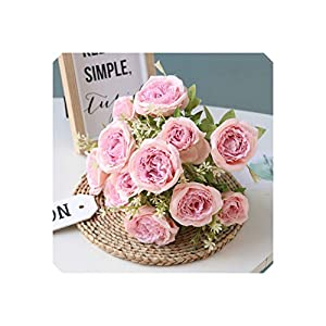 Artificial Flower 12 Heads Silk Peony Flower Artificial Tea Rose Flower Bouquet for Home Wedding Party Decoration Fake Flower Fall Decorations 38