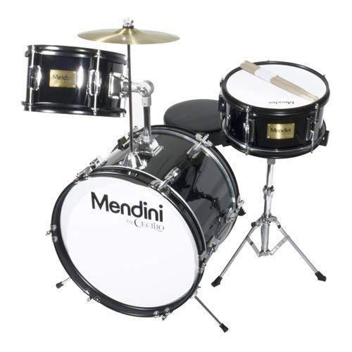 Mendini by Cecilio 16 inch 3-Piece Kids/Junior Drum Set with Adjustable Throne, Cymbal, Pedal & Drumsticks, Metallic Black, - Set 3 Cymbal