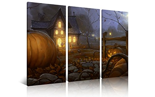 NAN Wind 3Pcs Modern Giclee Canvas Prints Lighted Halloween Pumpkins Wall Art Halloween Decorations Wall Decor Festival Poster Paintings on Canvas Stretched and Framed Ready to Hang for Home Decor