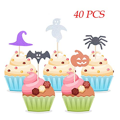 Homy Feel 40 Pieces Halloween Theme Glitter Cupcake Toppers,Witch Hat Bats Spider Pumpkin Ghost Mini Cake Decorations for Halloween Party Supplies
