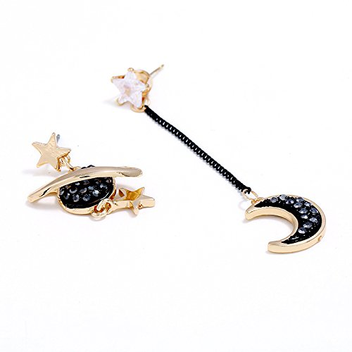 Fashion Crystal Space Universe Star Moon Pendant Earrings Planet Earth Dangle Brincos Asymmetric Jewelry For Women Girl Gifts