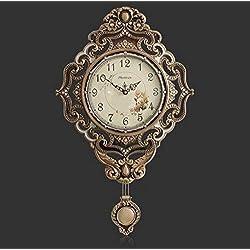 MGE UPS Systems Clock Wall Clock,Wall Clock Bedroom Clock Large Living Room Copper Clock Li Sound Mute Retro Quartz Clock