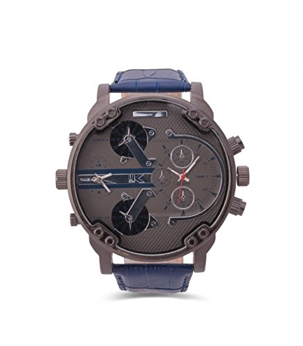 Yaki Neu Herrenuhren Quarzuhr Marken Armbanduhr Grosse Zifferblatt Dual Time Lederarmband Blau