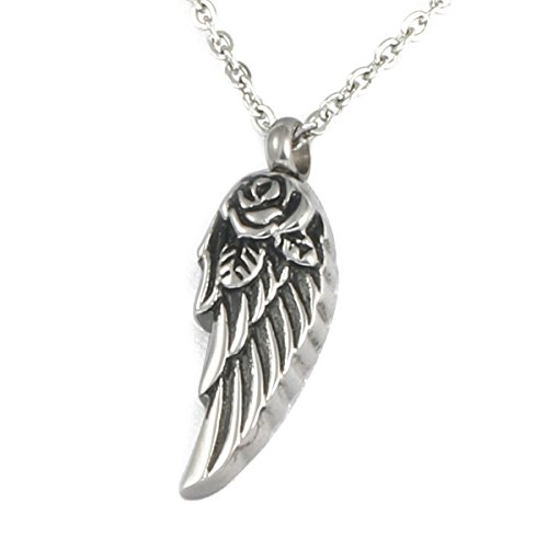 - HooAMI Angel Wing with Rose Flower Cremation Urn Necklace Memorial Ash Keepsake Stainless Steel Pendant