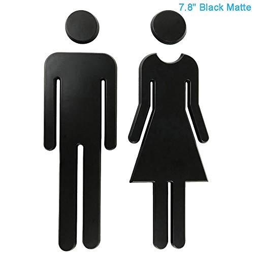 RJWKAZ 7.8 Premium Bathroom Sign Acrylic Adhesive Backed Mens and Womens Toilet Sign (Black)