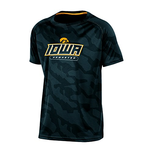 NCAA Iowa Hawkeyes Boys Short Sleeve Crew Neck Raglan Synthetic T-Shirt, Medium, Black (Hawkeye Kids)