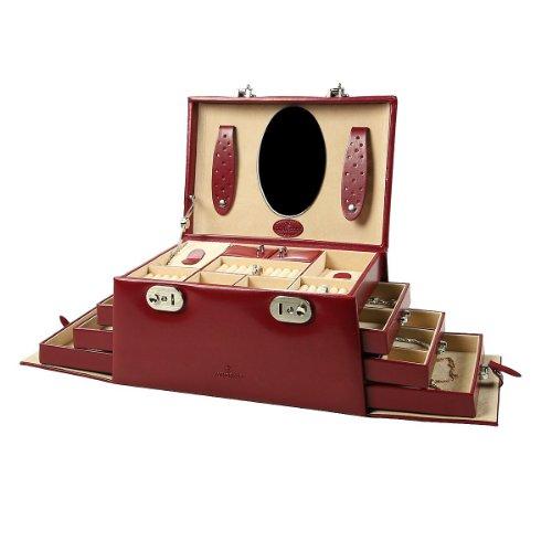 Windrose Merino Schmuckkoffer mit 6 Seitenschubladen 0 rot