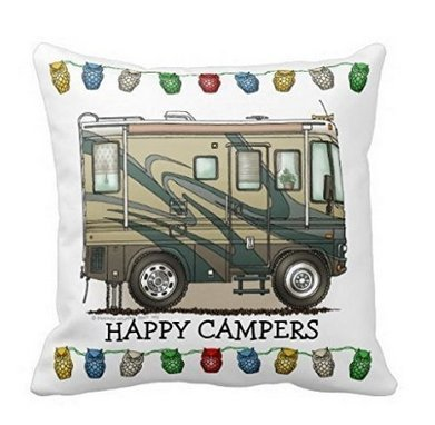 Cute Rv Vintage Glass Egg Camper Travel Trailer Pillow Home Style Cotton Decorative Couple Throw Pillow Cover Cushion Case Couple Pillow Case (Big RV Coach Motorhome Pillow) ()