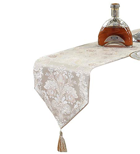 HomeyHo Floral Embroidery Table Runner Decorate Table Runner with Tassel European Table Runner Embroidered Table Runner Floral Wedding Table Runners Dinner Room Table Runner, 13 x 83 Inch, Beige ()