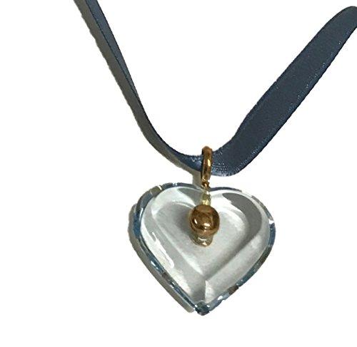 - Baccarat A LA Folie Heart Pendant Gold Link Necklace Choker (Blue)